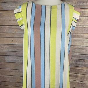 Monteau XL Striped Blouse Ruffled Cap Sleeves